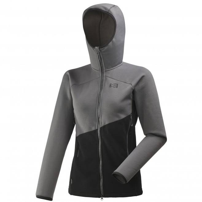 Warme Fleecejacke für damen - alpinklettern - schwarz LD ELEVATION POWER HOODIE Millet